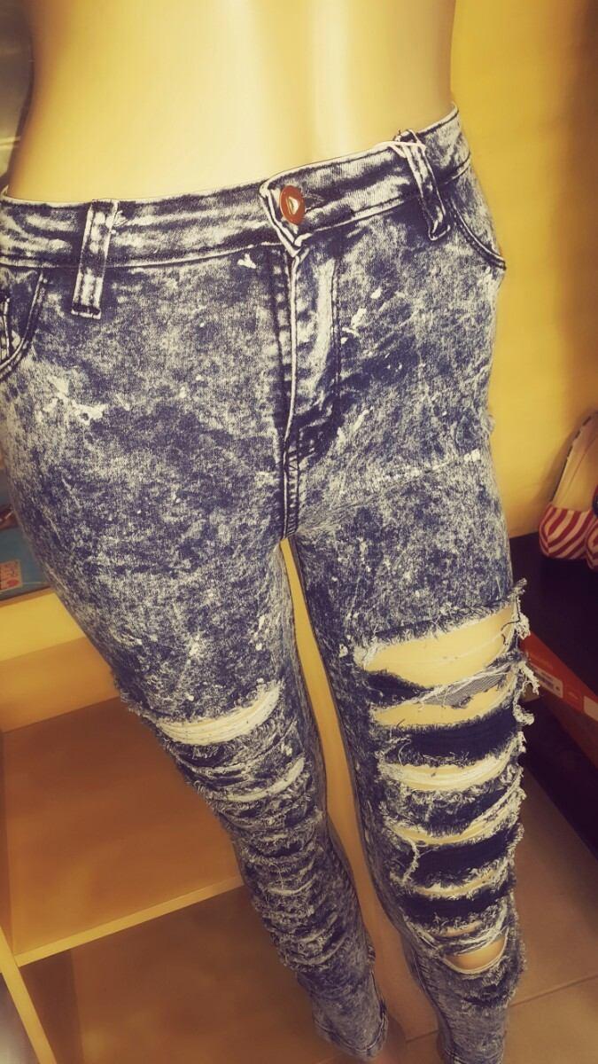 Denim Pantalon Tiro Mujer Roto Azul Alto Nevado Jean 9WID2HE