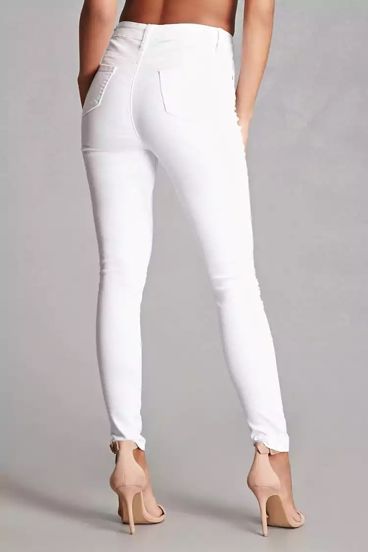 jeans blanco roto de mujer tiro alto elastizado. Cargando zoom. 716a160cd8c1