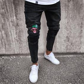 e0fe1e713 Jeans Ceñidos Rasgados De Mezclilla Con Bordado Para Hombre