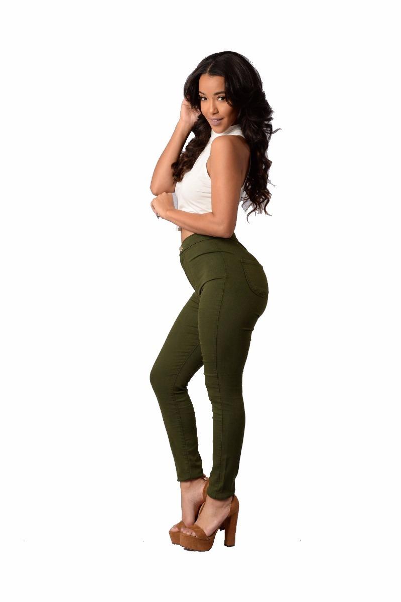 alto jeans mujer militar tiro verde Cargando chupin zoom color UZOZxF 2eabacb37c57