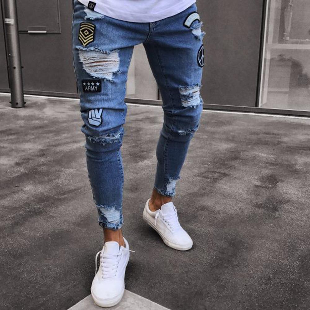 6197763763 Jeans Chupines Rotos Con Bordados Para Hombre -   399.17 en Mercado ...