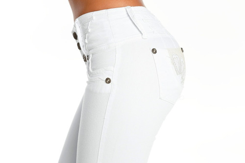 jeans colombianos levanta cola color blanco / grupoborder
