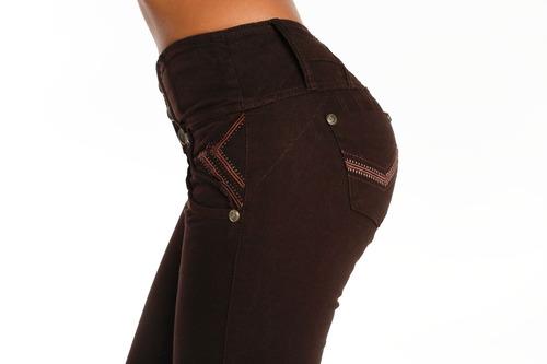 jeans colombianos levanta cola color chocolate / grupoborder