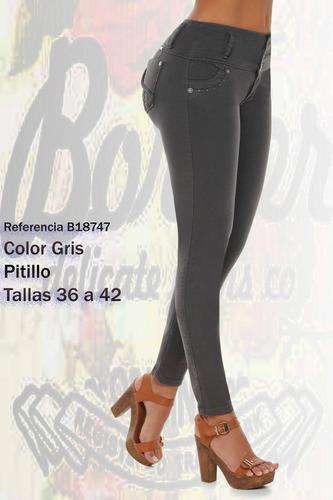 jeans colombianos levanta cola color gris raton/ grupoborder
