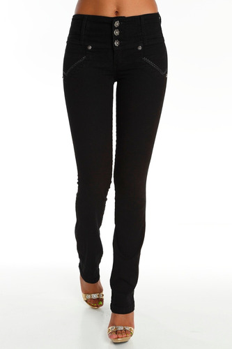 jeans colombianos levanta cola negro s/bolsillo /grupoborder