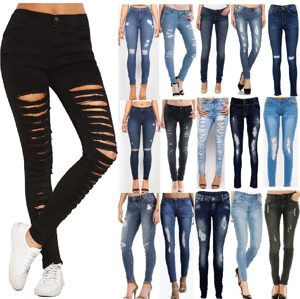 706b2865d5c0b Jeans Con Rotos Mujer Dama Chicas Tiro Alto Talla 6-16 -   99.800 en ...