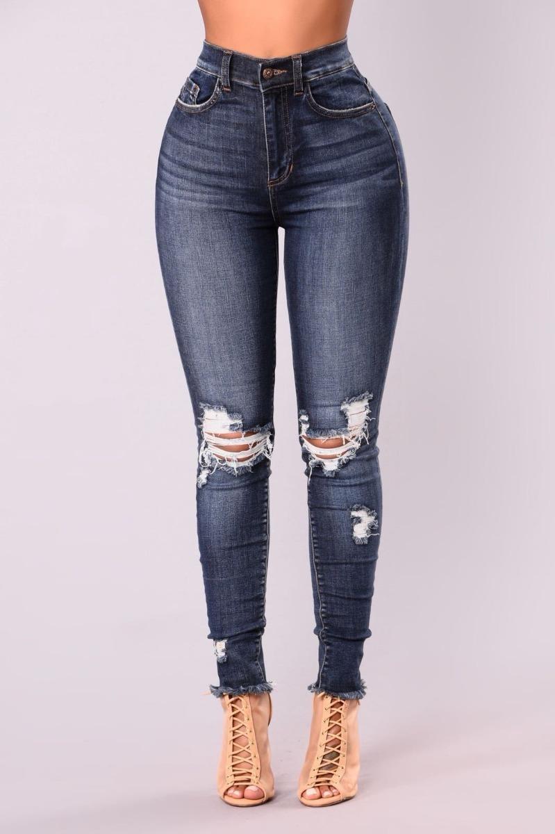 64f6afb92 Jeans Con Rotos Mujer Dama Chicas Tiro Alto Talla 6-16 -   119.500 ...