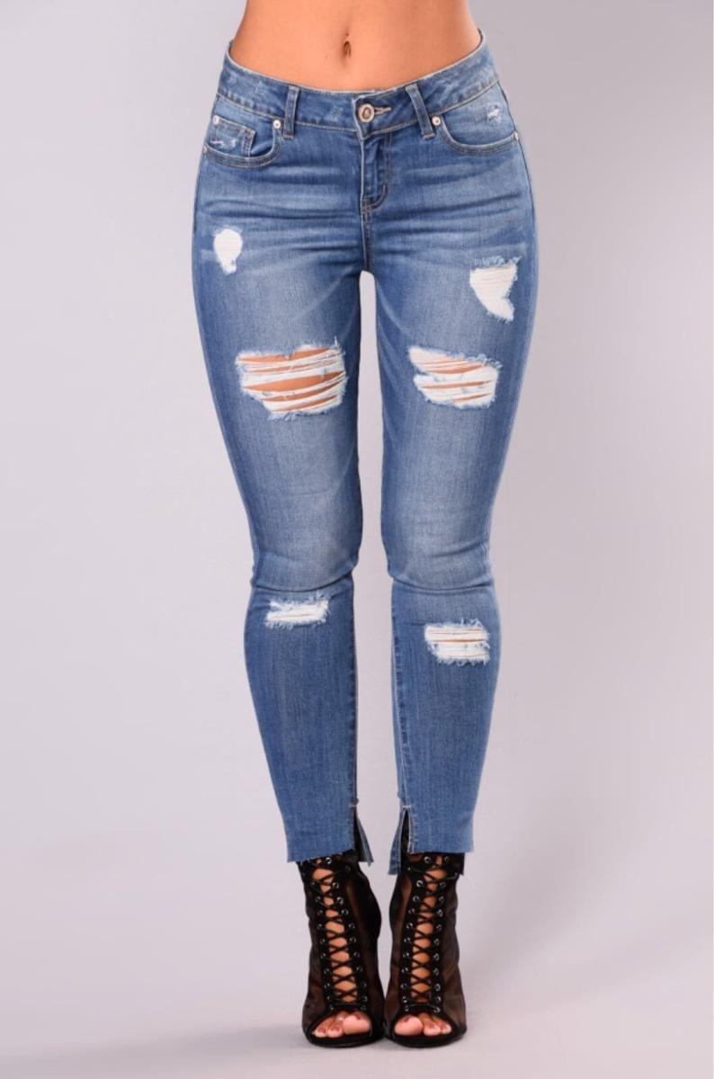 Jeans Con Rotos Mujer Dama Chicas Tiro Alto Talla 6-16 ...