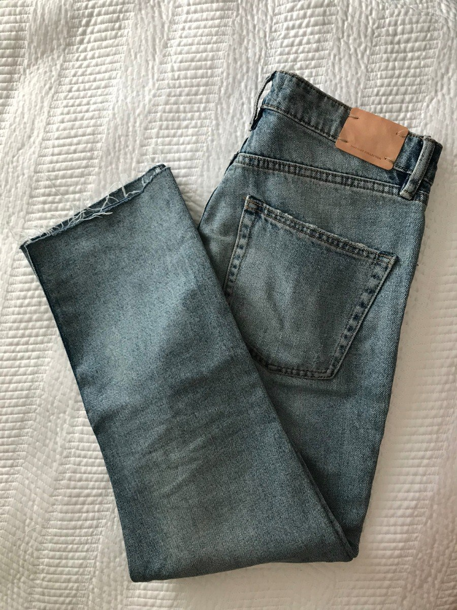 31fe21c90 Jeans Cropped Zara Mujer Claros Cortos Descocidos Altos