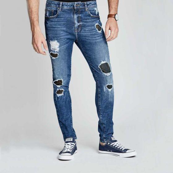 abe2005e8 Jeans De Mezclilla Rectos Y Rotos Para Hombre -   729.00 en Mercado ...