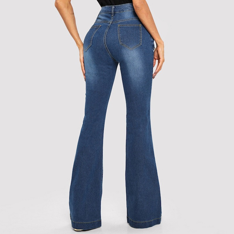 46f23dafd5f Jeans De Mujer De Cintura Alta Campana-denim Inferior - $ 411.18 en ...