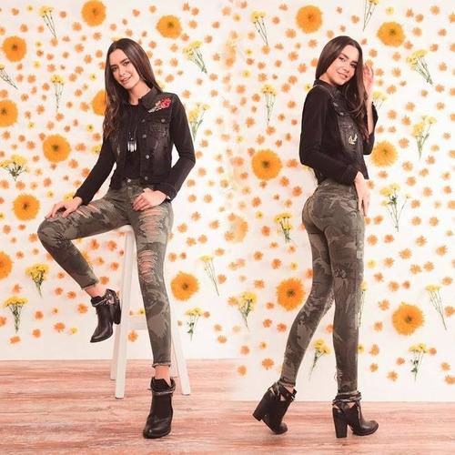 jeans di bello skinny estilo militar mujer colombiano