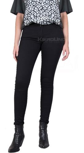jeans elastizado chupin pantalón negro mujer kierouno