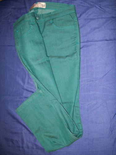 jeans elastizado de dama color verde petróleo tramps 38