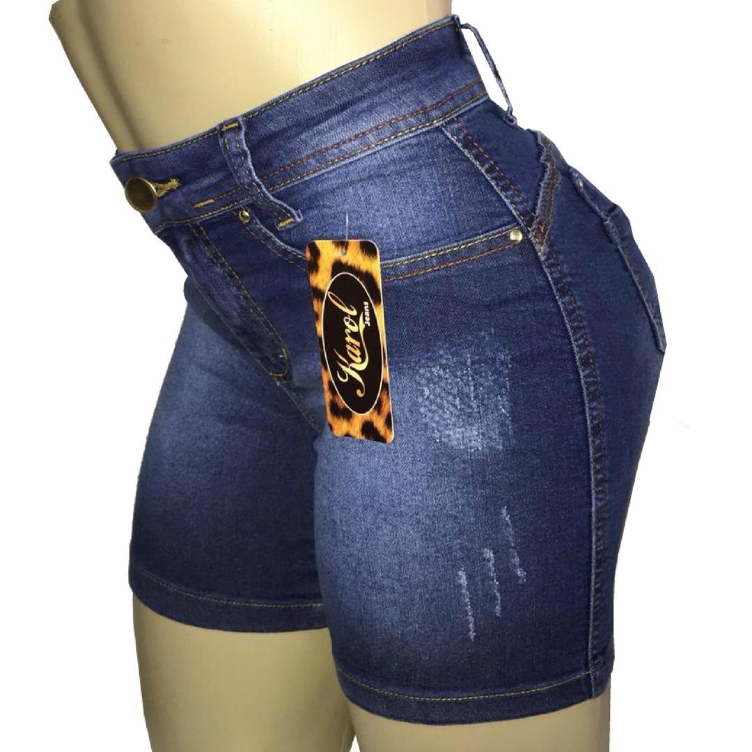 Short Jeans Feminino Levanta Bumbum Cós Alto Meia Coxa - R  49 345f8cd3286
