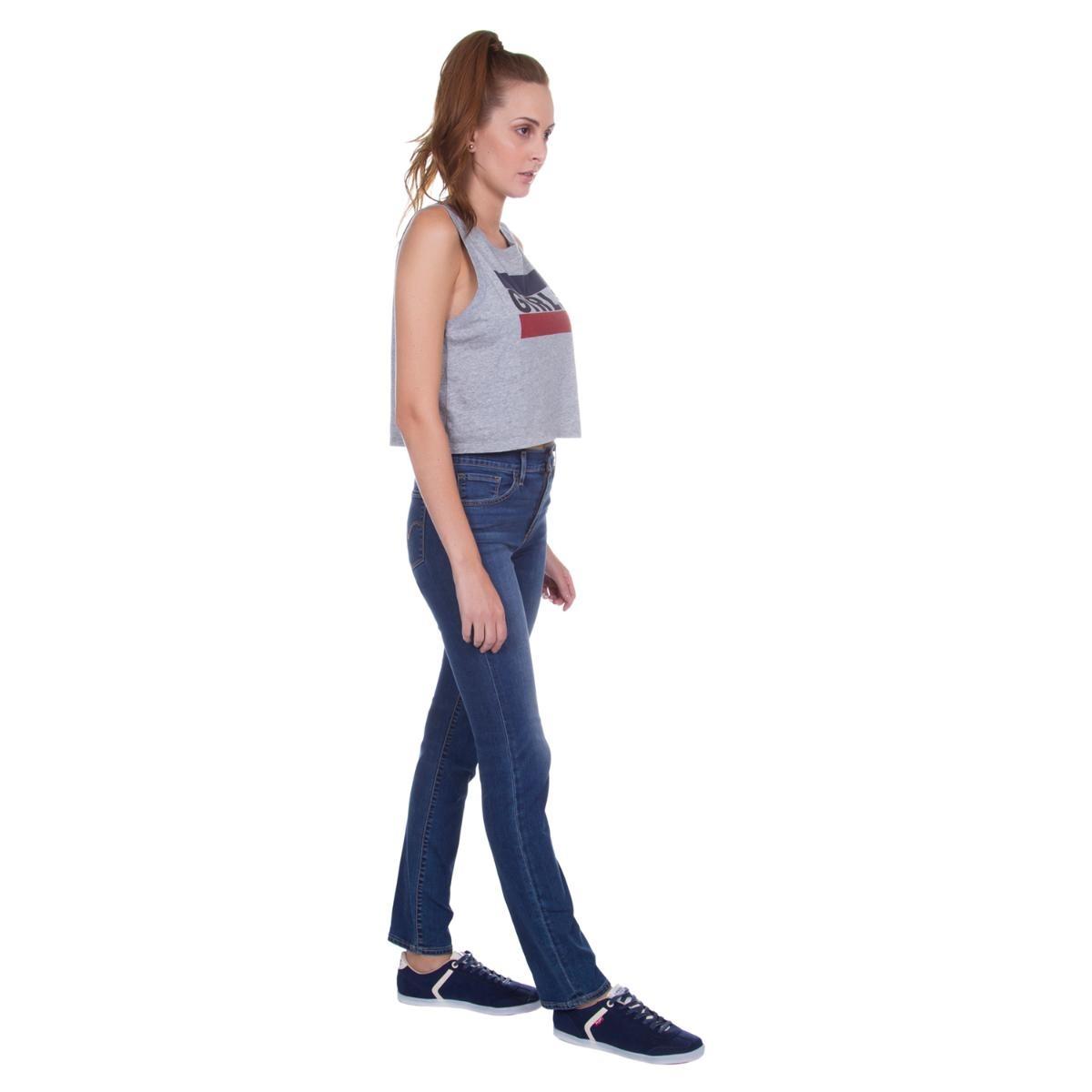 Carregando zoom... calça jeans levis feminina 724 high rise straight azul  média 52639023a5c
