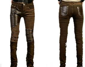 KouCla cuero look pantalones señora pantalones con abierta Zips