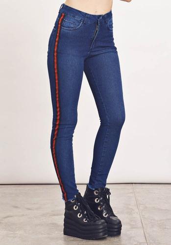 jeans mujer chupin elastizado  con franjas laterales