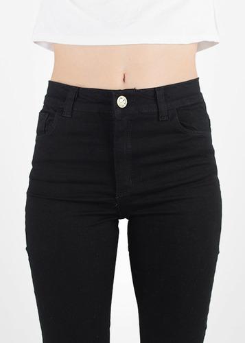 jeans pantalón mujer negro tiro alto sisa chupin clasico