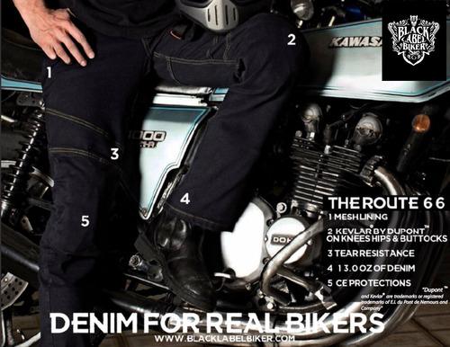 jeans para motociclistas black label biker modelo route 66