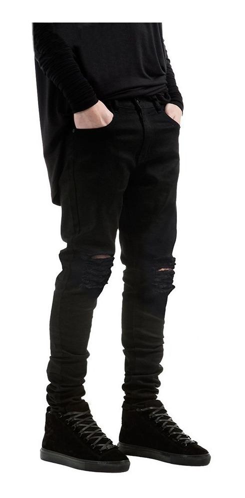 Jeans Pitillos Para Hombre, Elastizados Y Rasgados, Negros ...