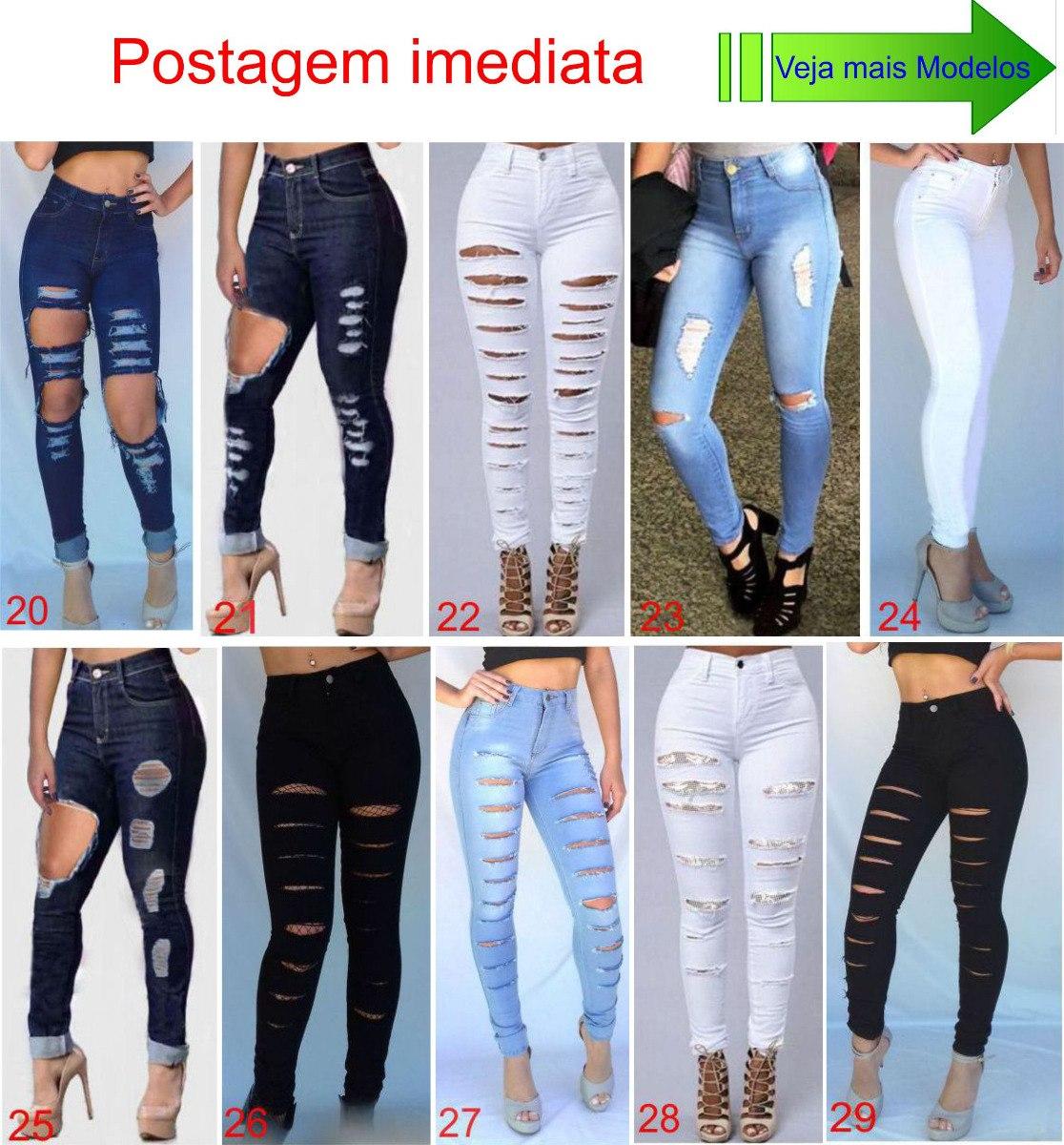 1eec1ca65 Carregando zoom... calça jeans roupa feminina cintura alta dins rasgada ...