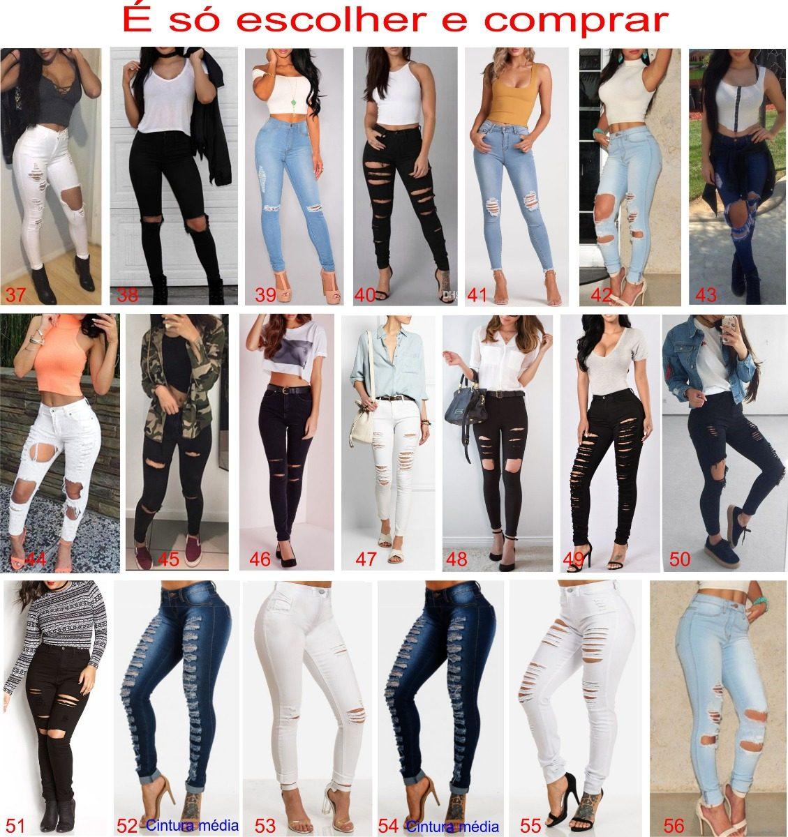 363a78c42 Carregando zoom... kit 2 calças jeans cintura alta roupa feminina rasgos  dins