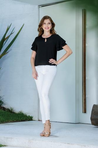 jeans skinny super stretch tiro alto blanco liso devendi