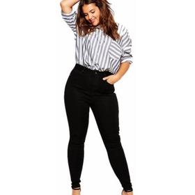 Jeans Tiro Alto Elastizado Talle Especial Negro