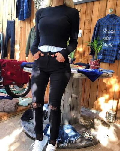 jeans tiro alto roturas elastizado
