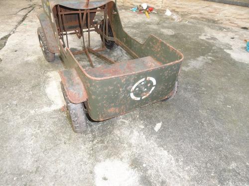 jeep pedal car exército lata brinquedo bandeirante original