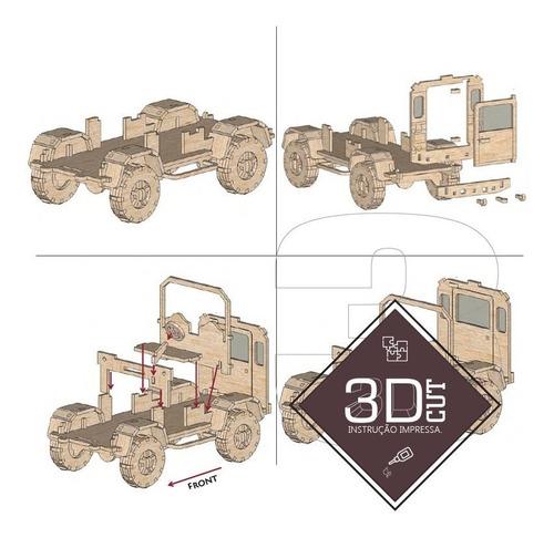 jeep willys. quebra cabeça 3d. miniatura em mdf