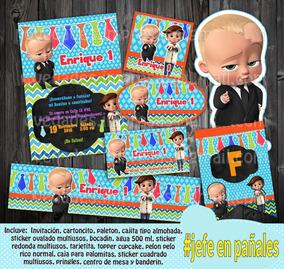 Jefe Pañales Bebe Fiesta Etiquetas Invitación Varios Modelos