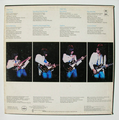 jeff beck wired acelerado lp vinyl mexicano epic 1976