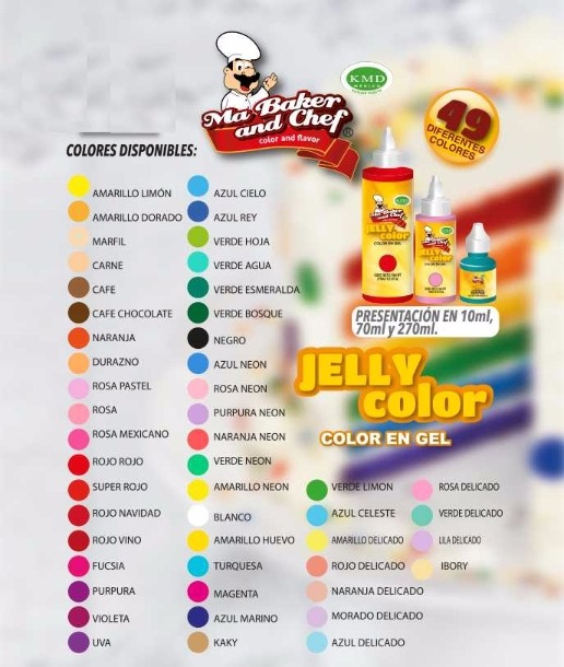 Jelly Color 6pzs Colorantes Gel P/ Reposteria Ma Baker&chef ...