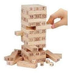 jenga de madera x 48 piezas y 4 dados oferta!!!