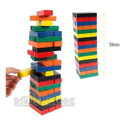 jenga de madera x 48 unidades de colores wiss toy