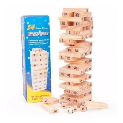 jenga yenga torre madera 54 pcs juguete mediano número dados