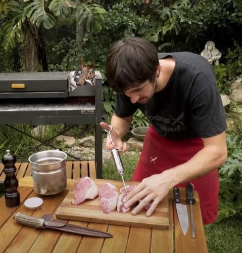jeringa inyector adobo condimentos marinar carnes ac inox.