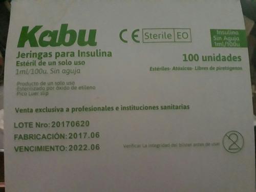 jeringas estériles  p/insulina 1 ml/196 u s/aguja