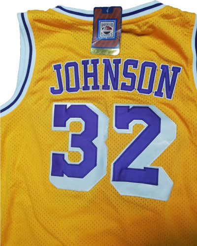 jersey autografiado los angeles lakers magic johnson cert
