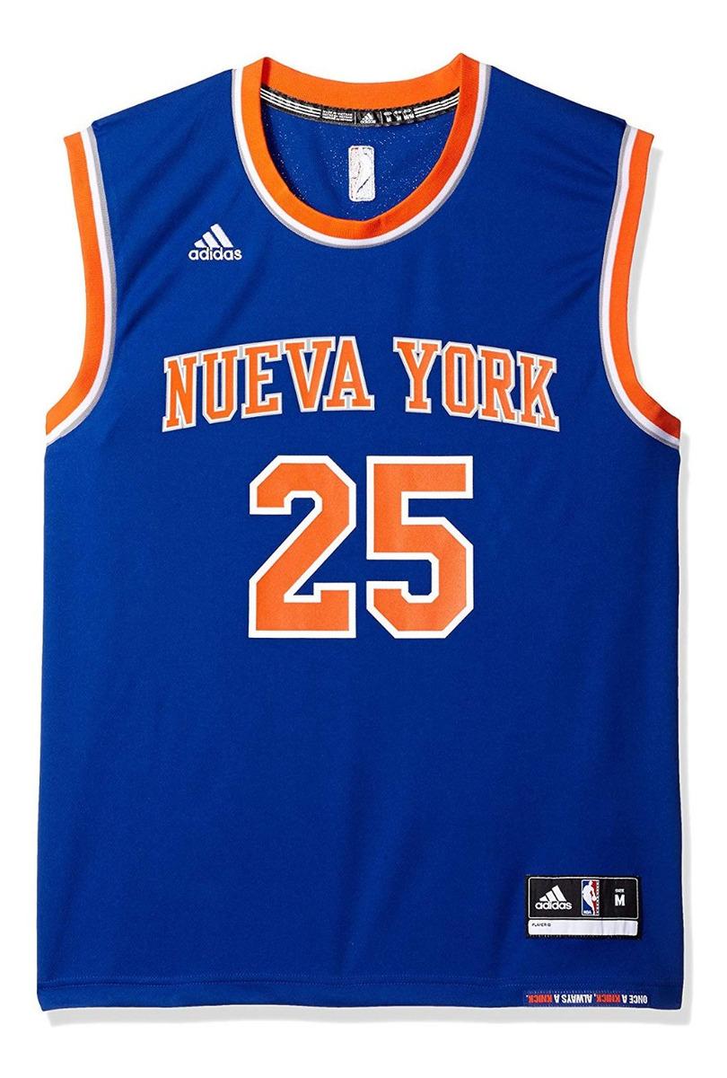 half off 4e139 a14b7 Jersey Azul Derrick Rose New York Knicks Nba adidas