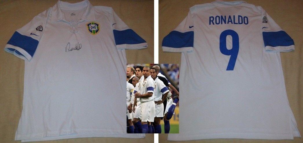 new concept ac9cb 6af32 Jersey Brasil Centenario Fifa Firmada Ronaldo Certificada