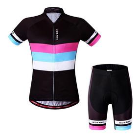 ba51e6764655 Jersey Conjunto Ciclismo Para Mujer Wosawe Negro