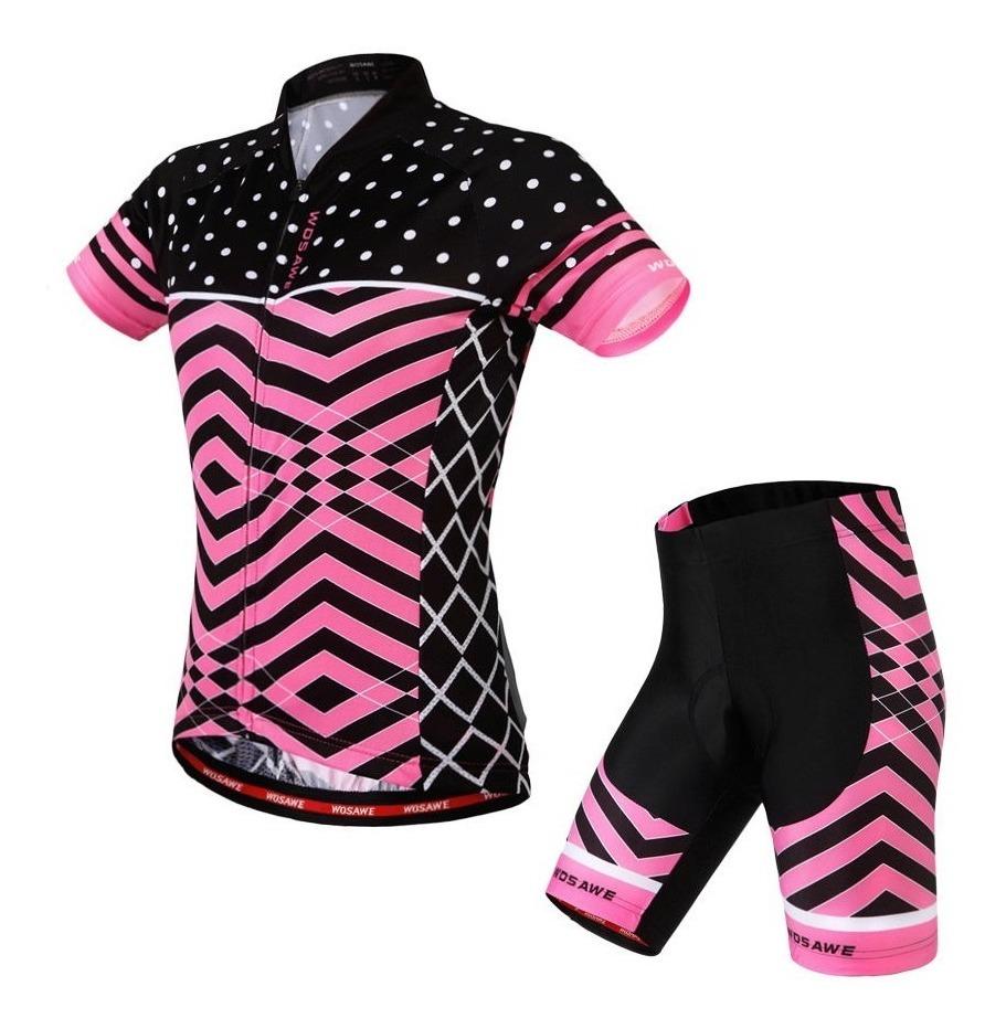 e3c2fd99bc2e Jersey Conjunto Ciclismo Para Mujer Wosawe Rosa