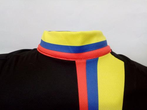 jersey de ciclismo colombia / negra / manga larga