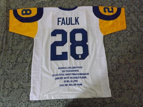 jersey de marshall faulk autografiado de los rams nfl