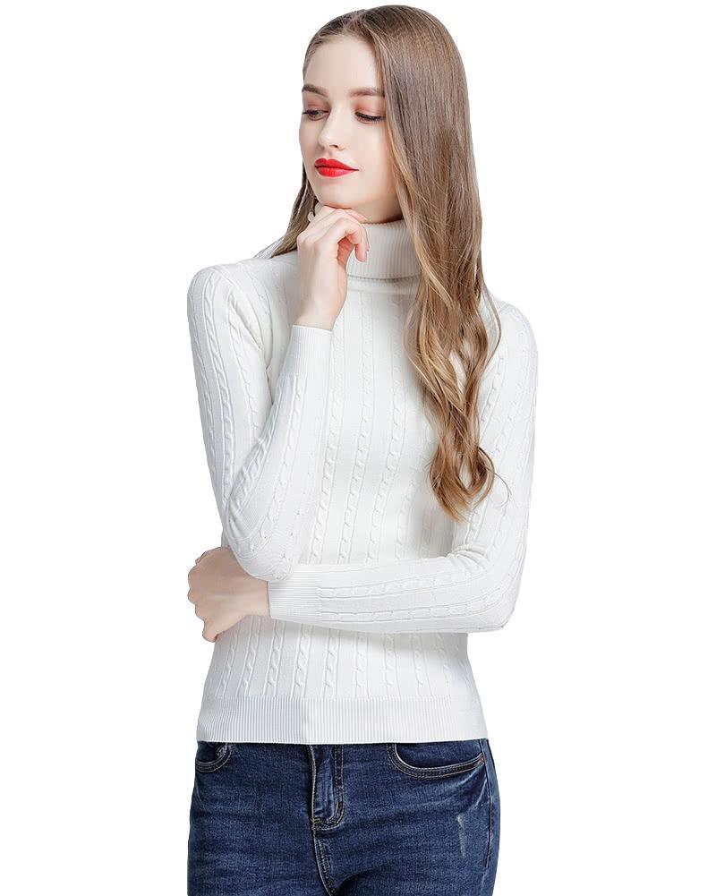 jersey de punto de cuello alto de mujer de moda trenzado. Cargando zoom. 608091540c1e