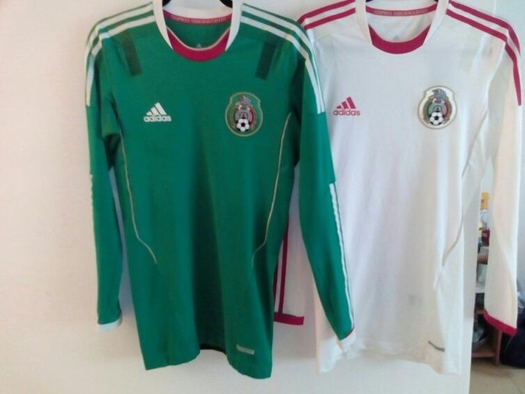 29e4baa4c7993 Jersey Mexico Verde Y Blanco 2011-2013 Manga Larga Techfit ...