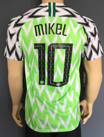 comprar baratas calzado calidad asombrosa Jersey Nigeria 2018 Mundial Local Con Número Mikel Nike